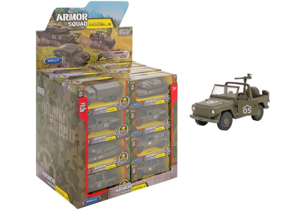 WELLY 1:38 VEICOLI MILITARI 6ASS 24PZ D/BOX RETROC
